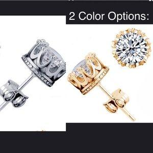 NWT/ Unisex 18K GoldORSterling Crown Crystal Studs